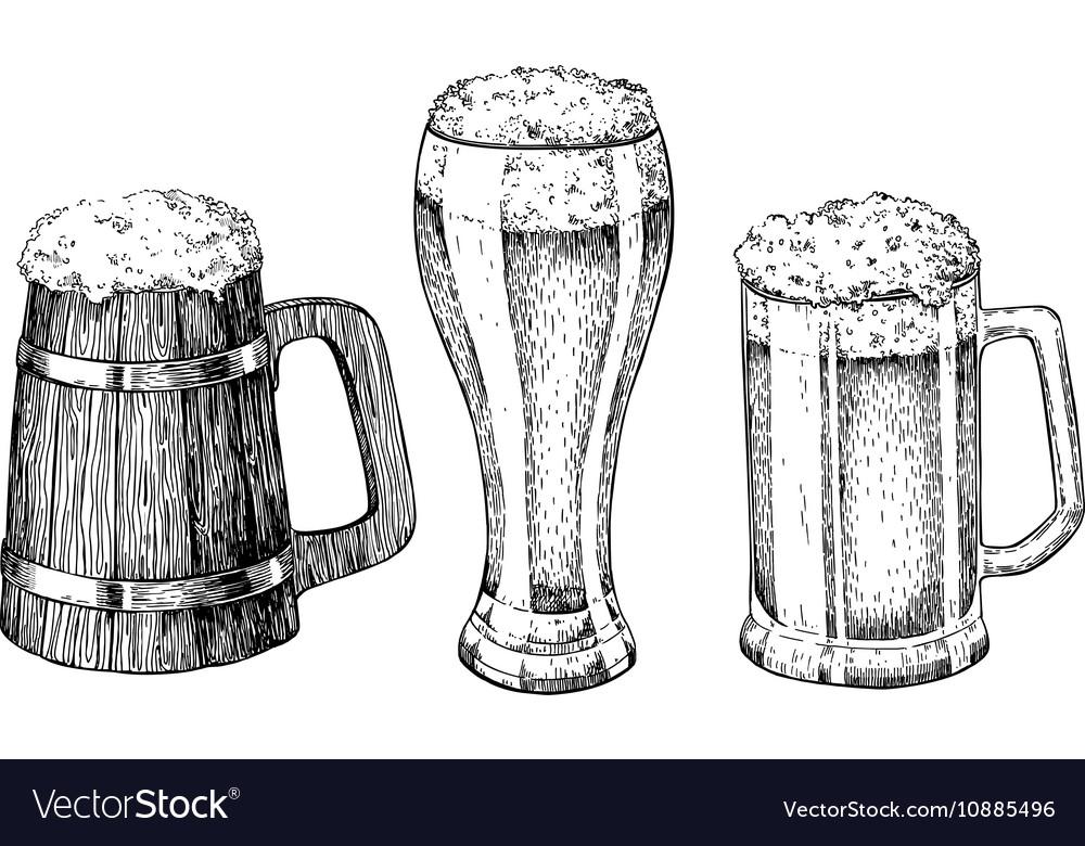 Beer glass mug wooden mug Hand drawn vector image