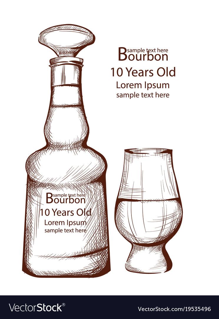 Bourbon vintage bottle in line art