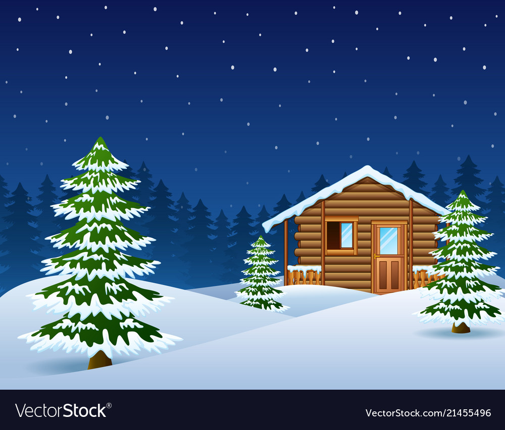 Log Cabin Christmas.Christmas Wooden House With Fir Trees Vector Image
