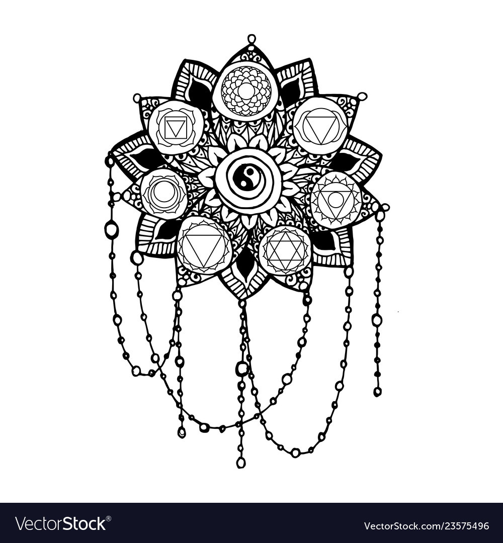 Doodle style monochrome black line art lotus
