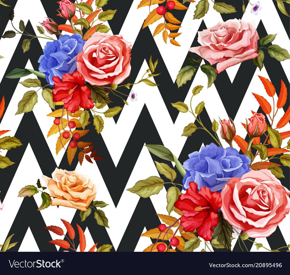 Flower hibiscus rose seamless pattern