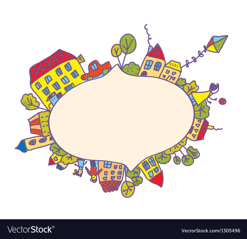 Frame with children and houses vector image