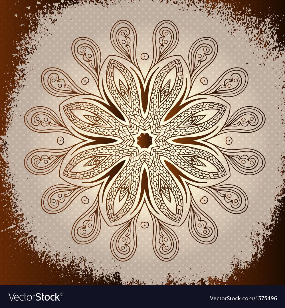 Grunge brown mandala background vector image