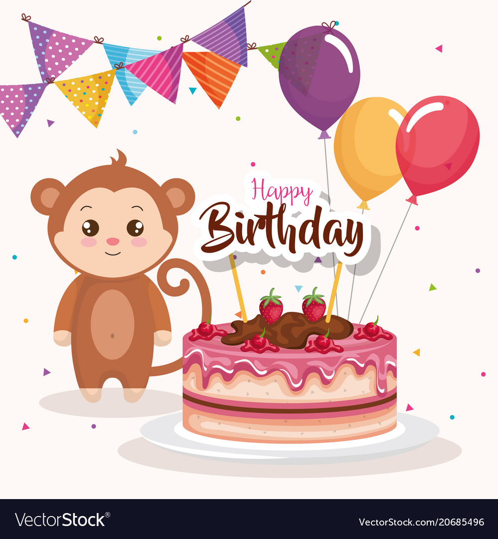Sensational Happy Birthday Card With Monkey Royalty Free Vector Image Funny Birthday Cards Online Alyptdamsfinfo
