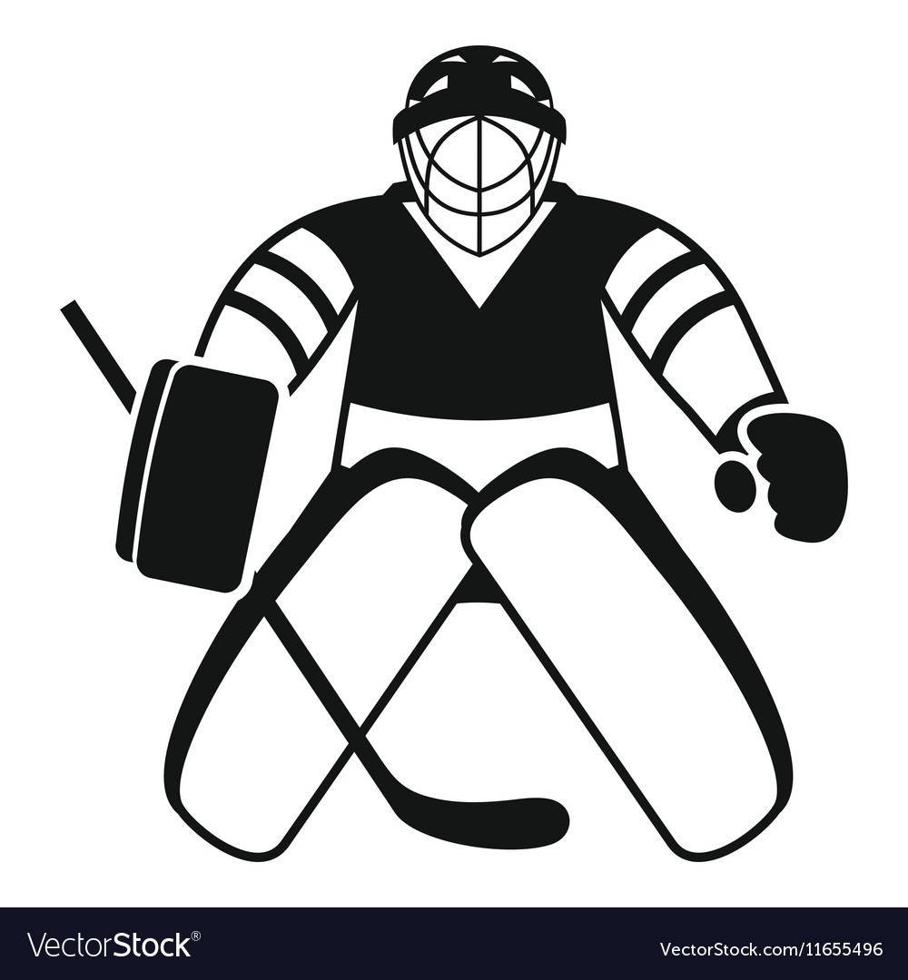 Hockey Goalkeeper Icon Simple Style Royalty Free Vector