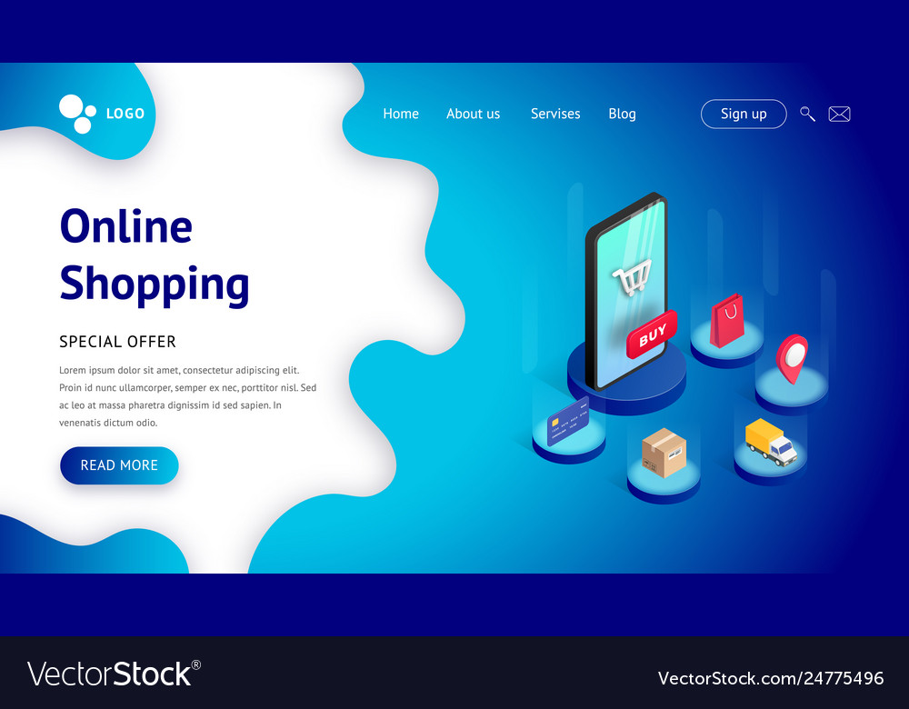 Landing page template isometric