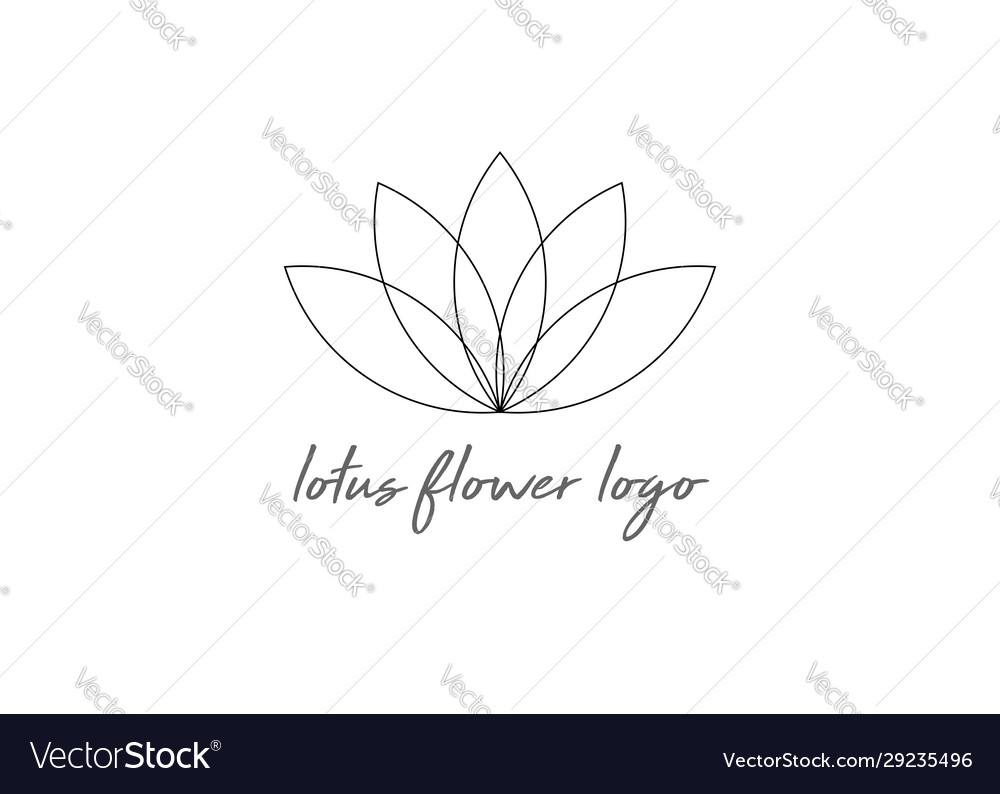 Line lotus flower or flower life isolated