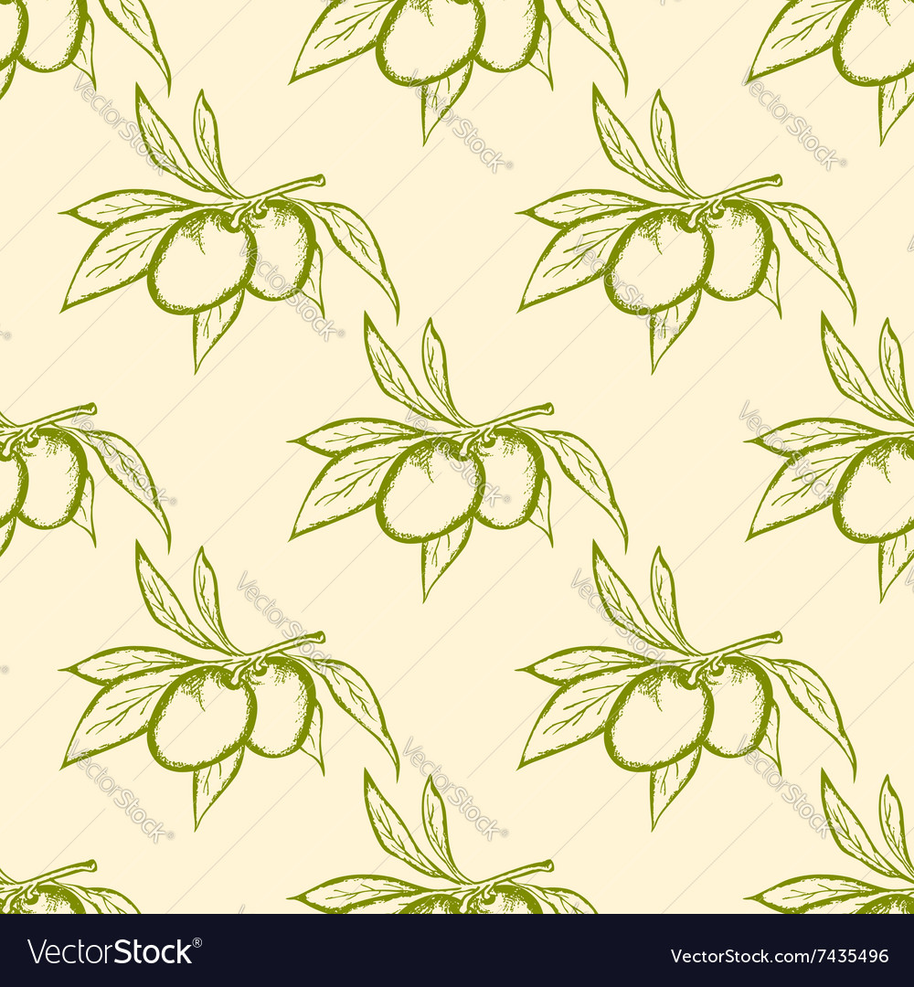 Seamless pattern with green olives