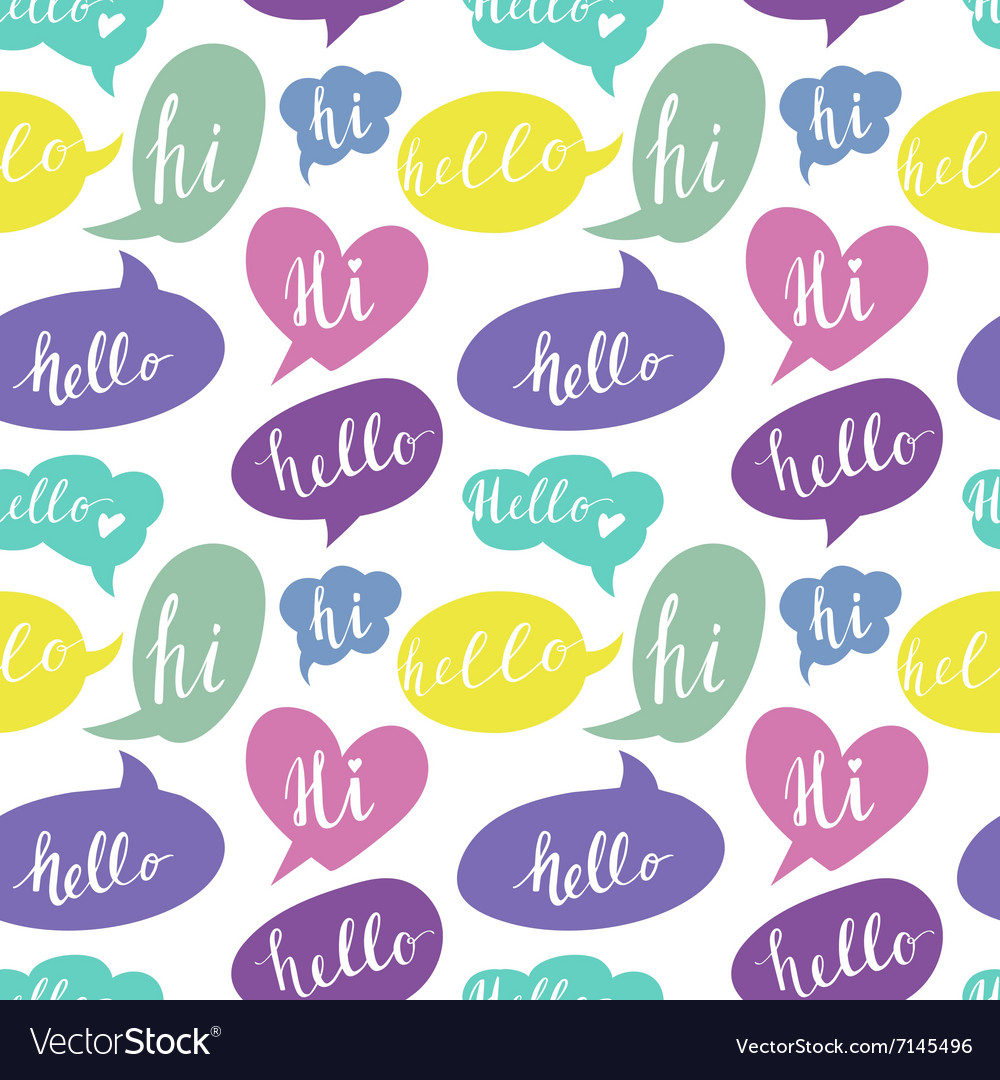 Speech bubbles with Hello and Hi words Seamless