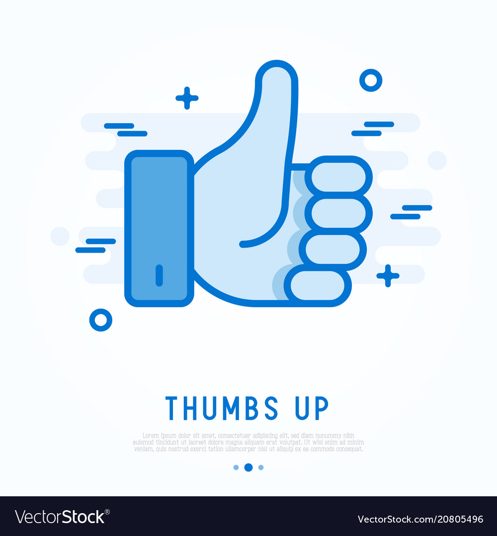Thumbs up thin line icon