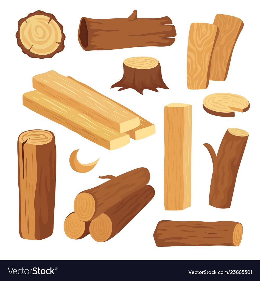 Cartoon timber wood log and trunk stump and