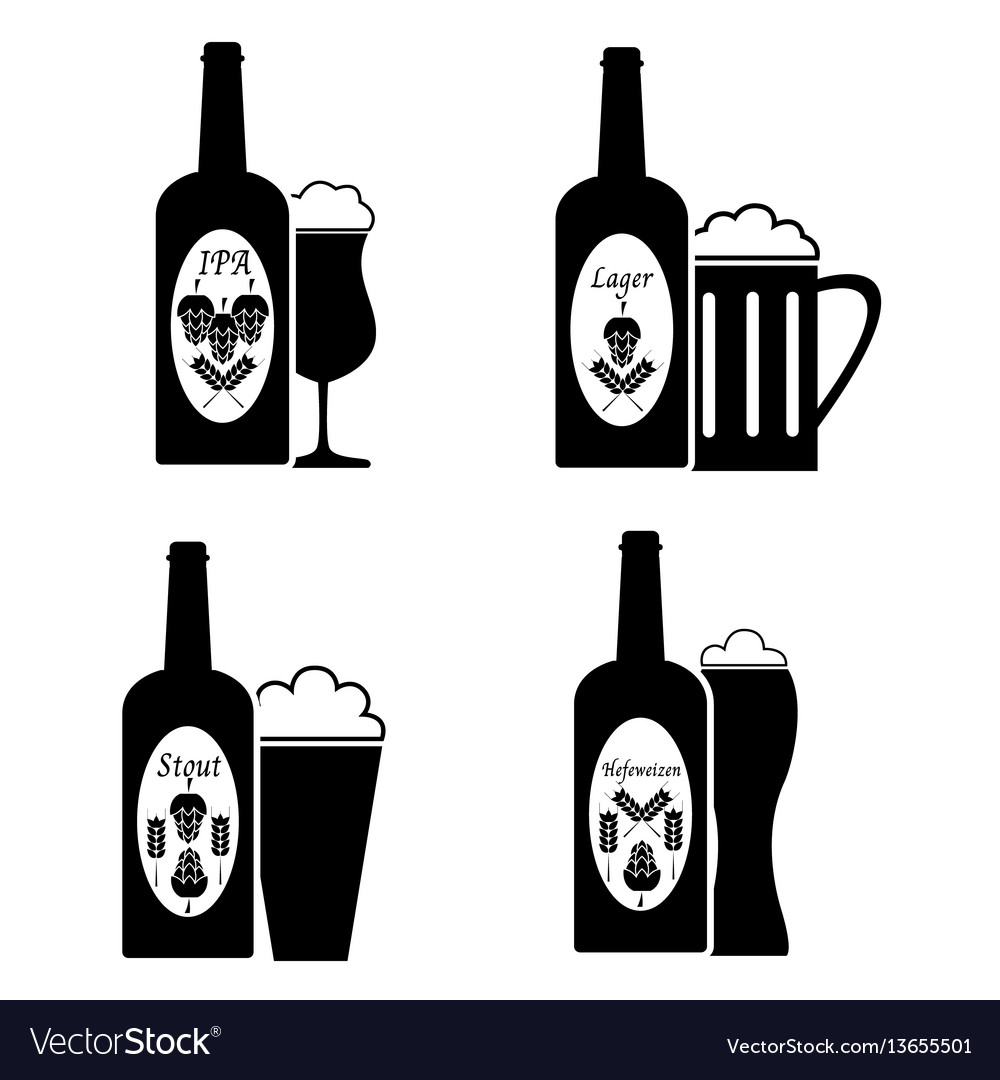 Collection of beer glass and bottle icons and