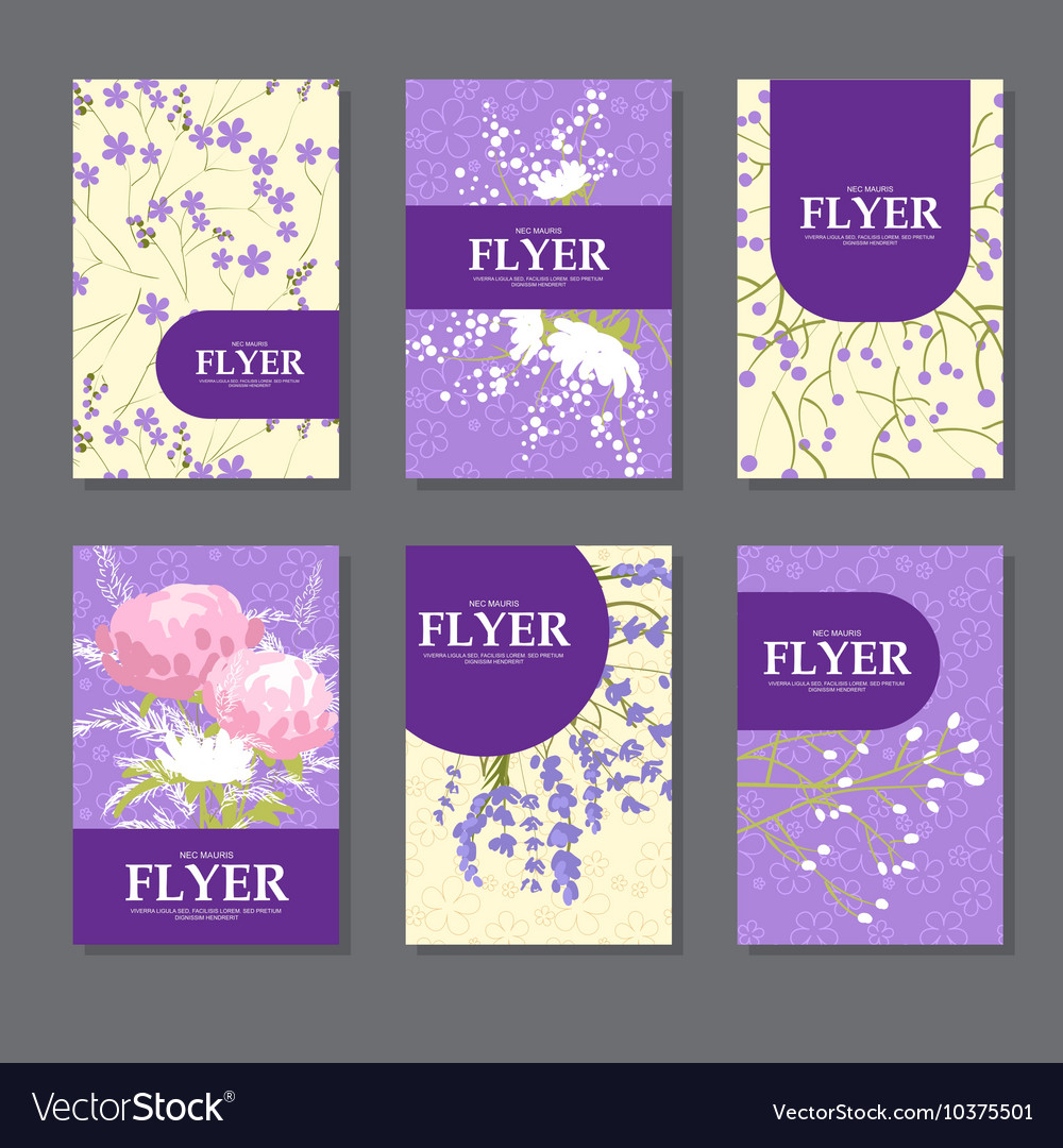 Collection of square cards with delicate flowers