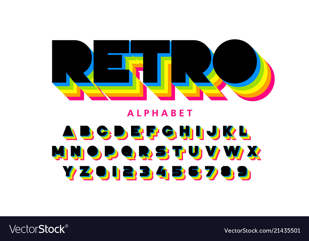 colorful retro font 80s style alphabet letters vector image