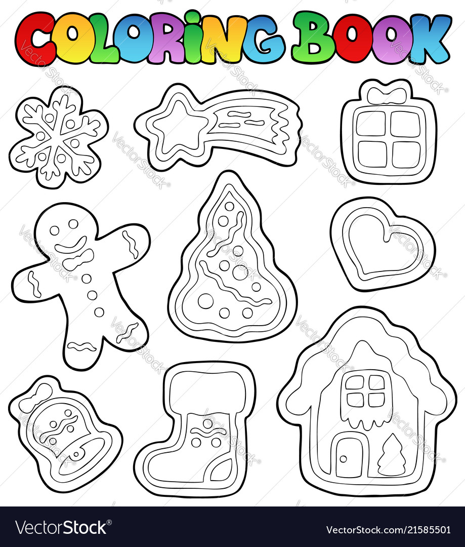 - Coloring Book Gingerbread 1 Royalty Free Vector Image