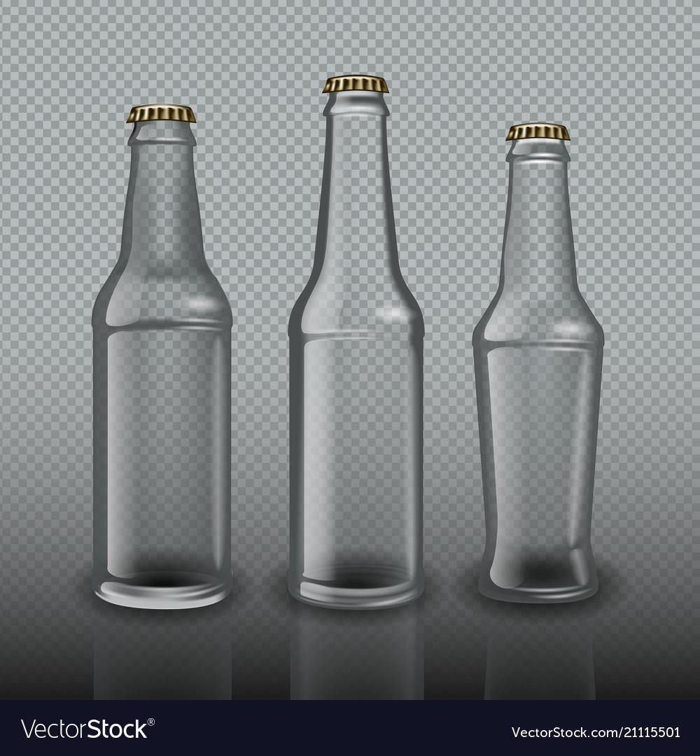 Empty bottles for beer on transparent background