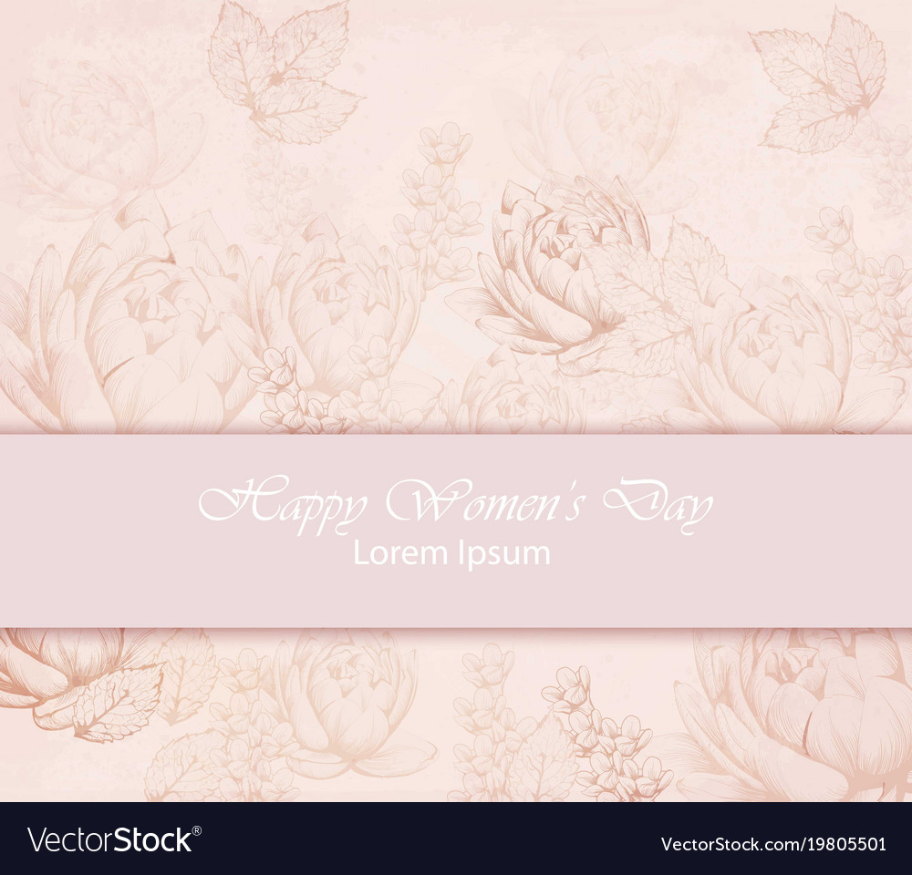 Happy women day card with delicate pink