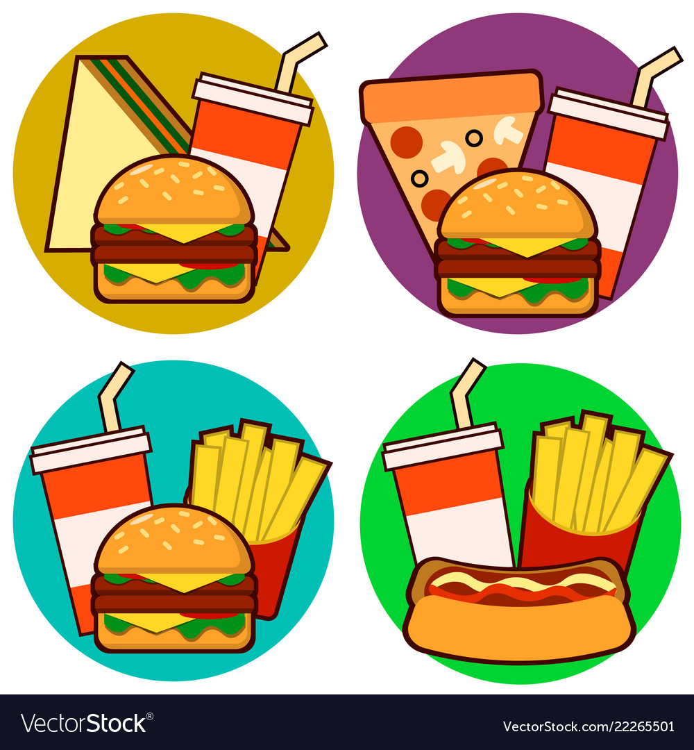 Icons of fast food combos set contains hot dog