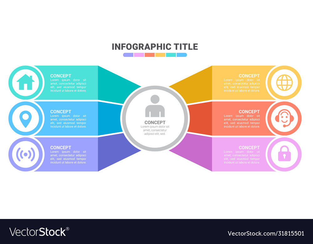 Infographic template with 3d paper label