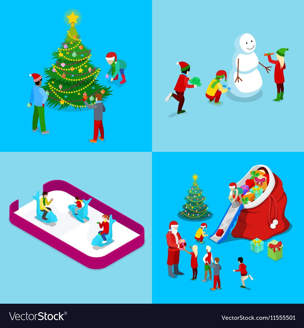 Merry Christmas Isometric Greeting Card Set