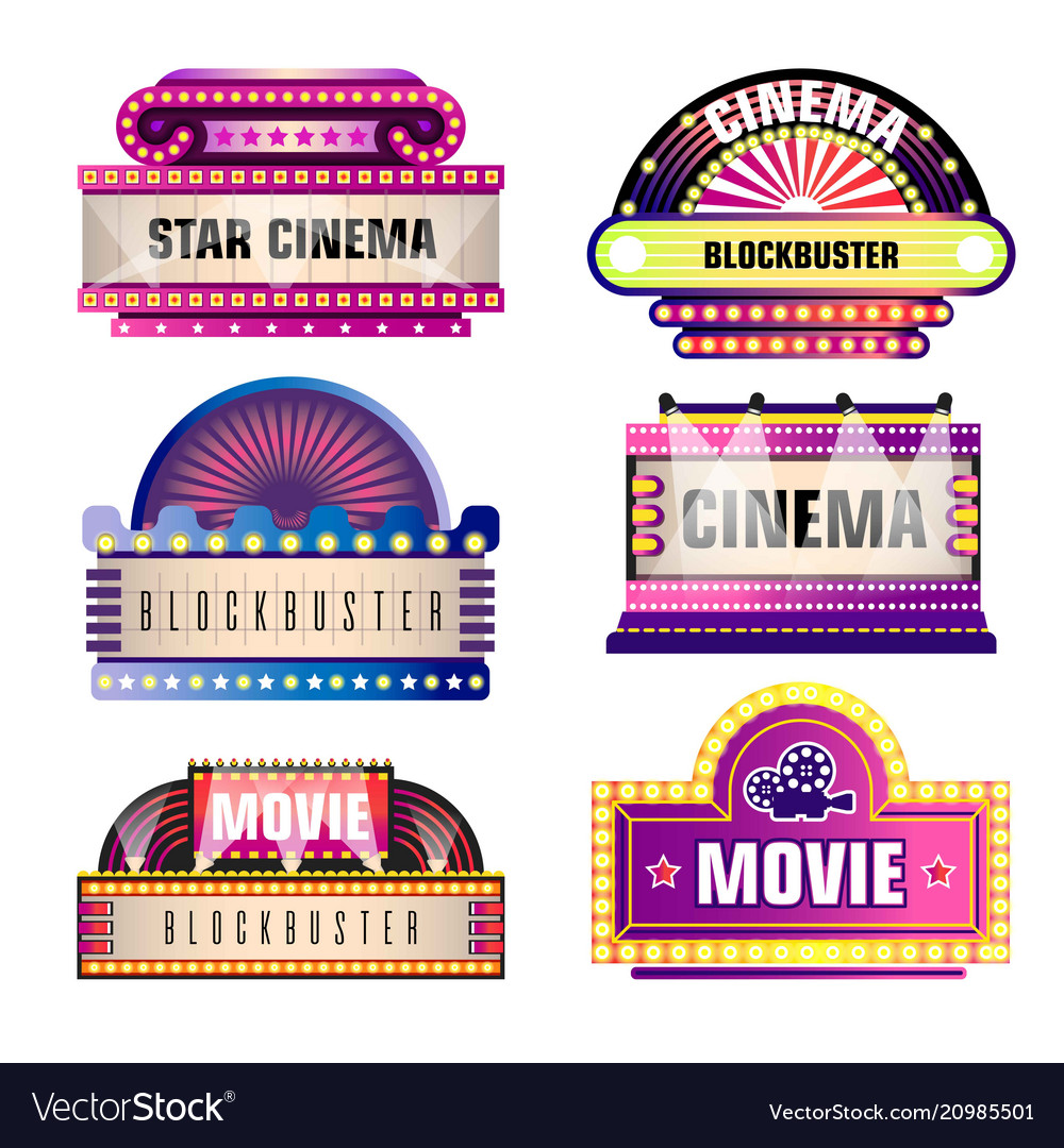 Movie and cinema retro signboards