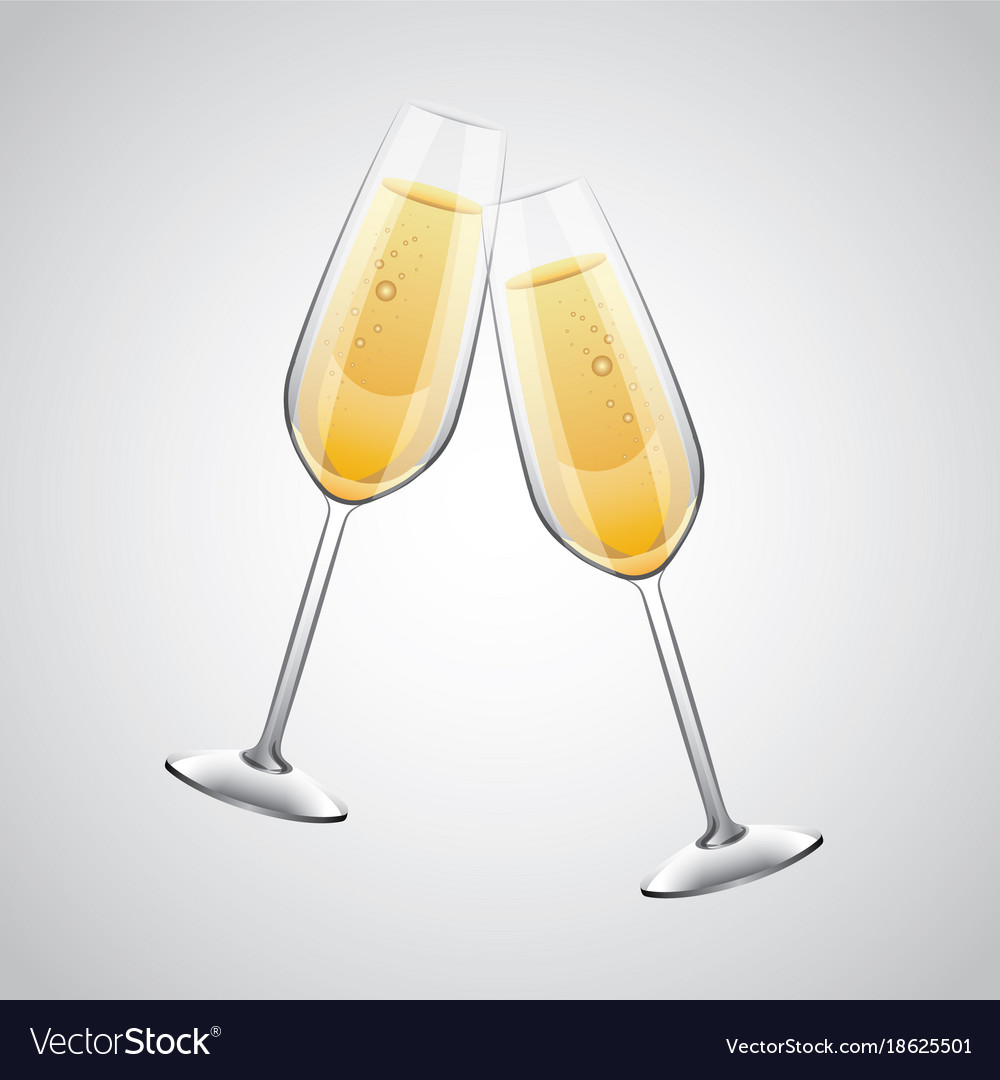pair of champagne glass cheers drink celebration vector image