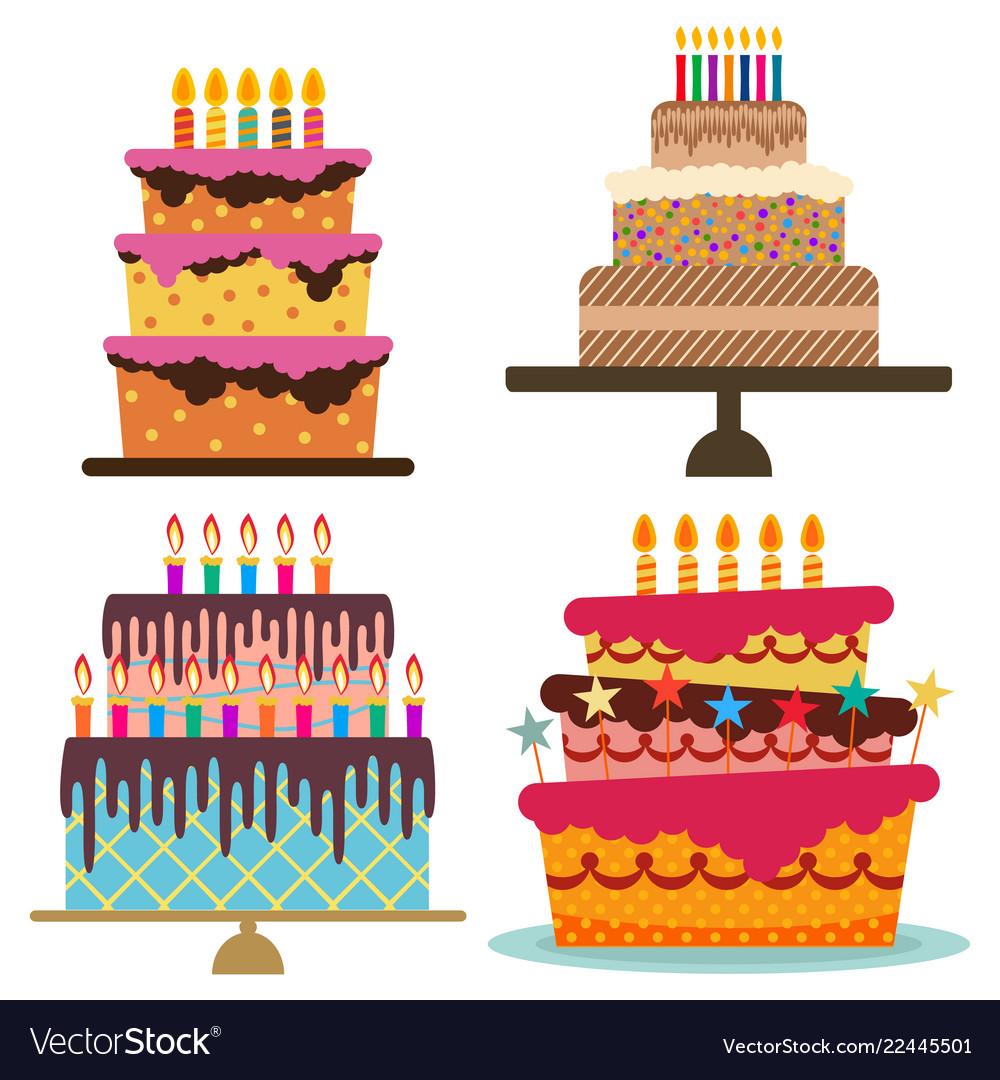 Set of four sweet birthday cake