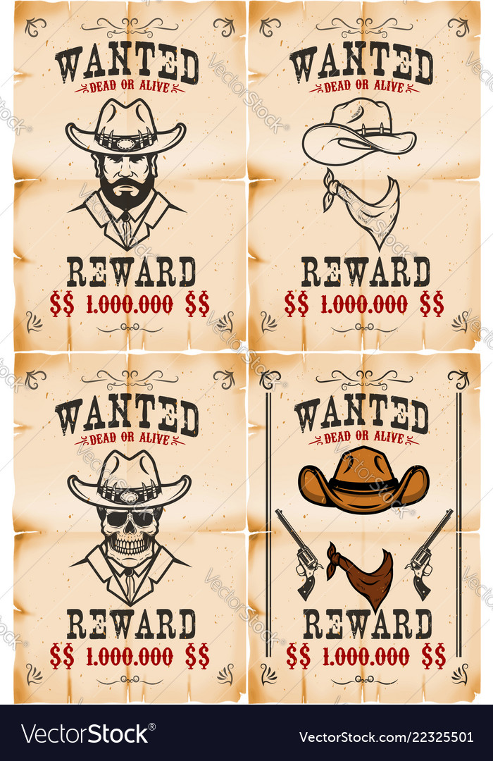 Set of wanted posters in wild west style