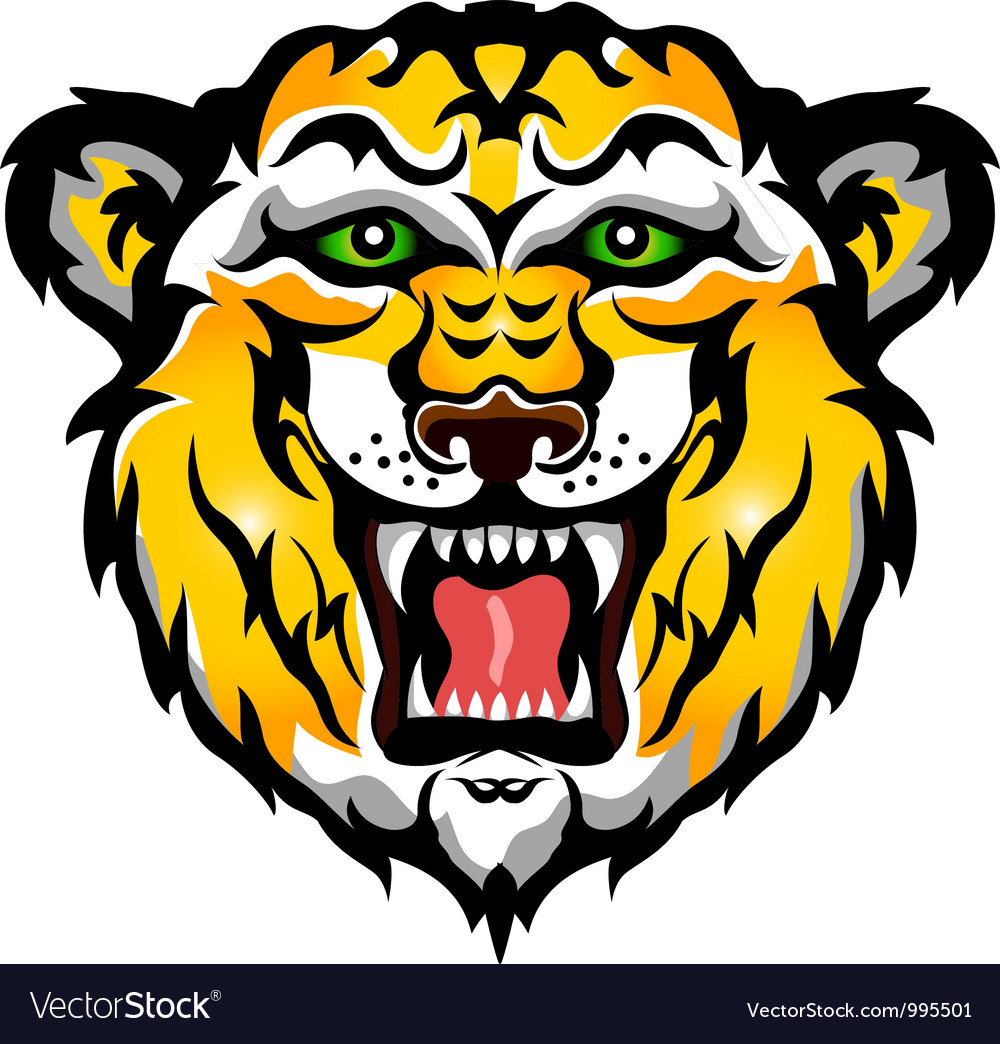 Tiger head tattoo tribal vector image