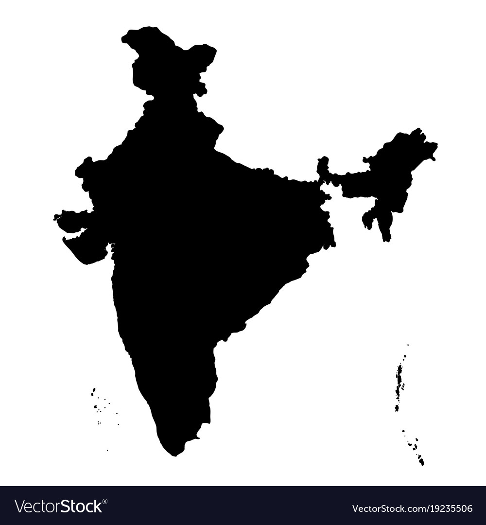 India Map Vector Detailed flat black map of india asia Royalty Free Vector