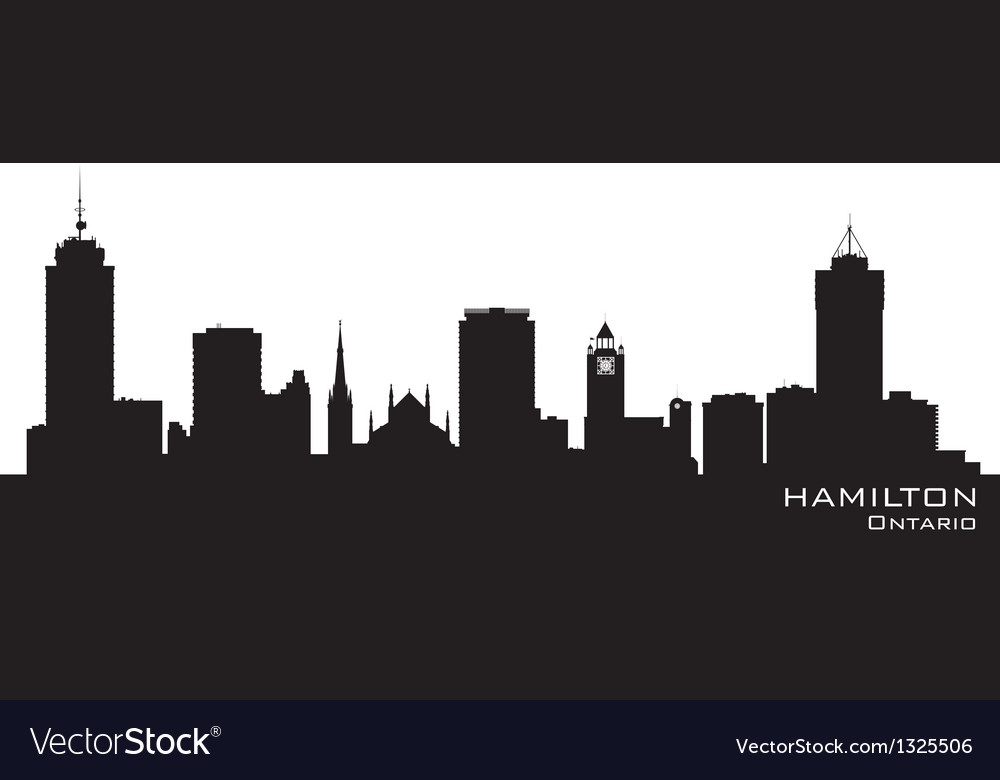 Hamilton Canada skyline Detailed silhouette vector image