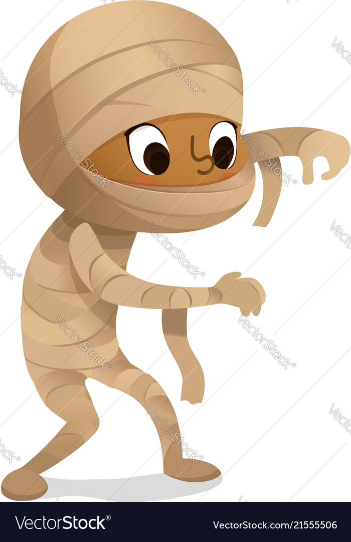 Kids costume party african-american mummy boy in