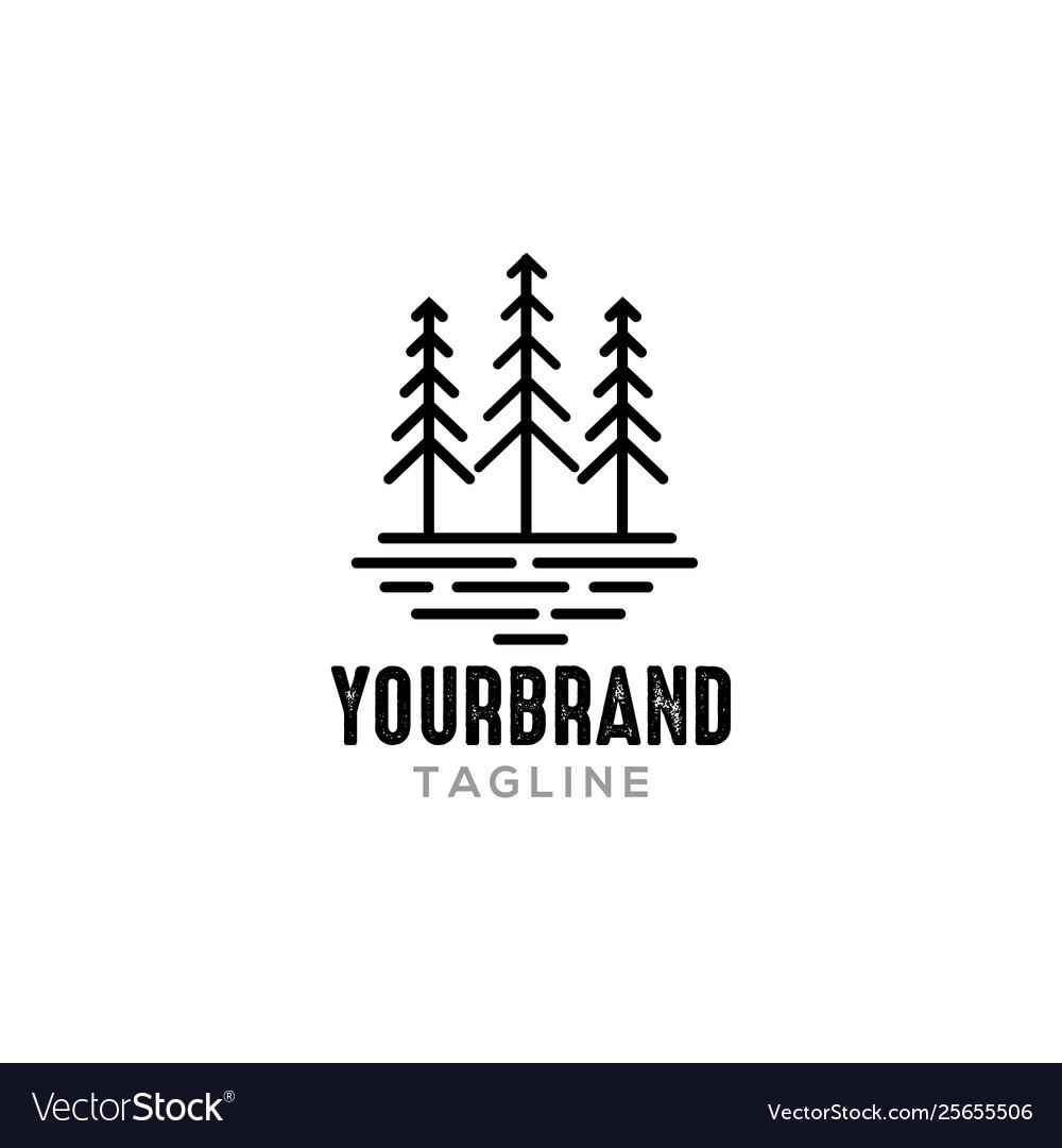 Line pine tree logo design inspiration