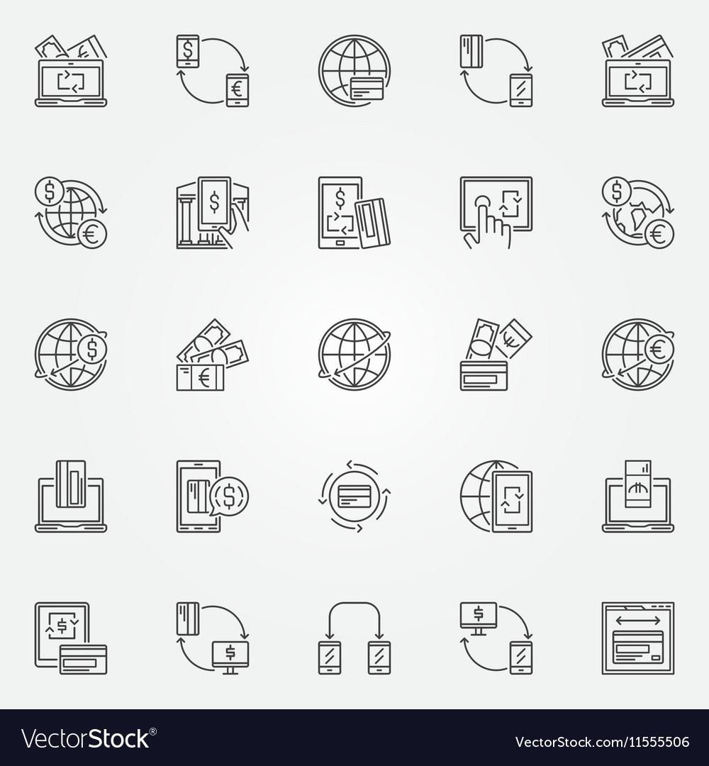 Money transfer icon set