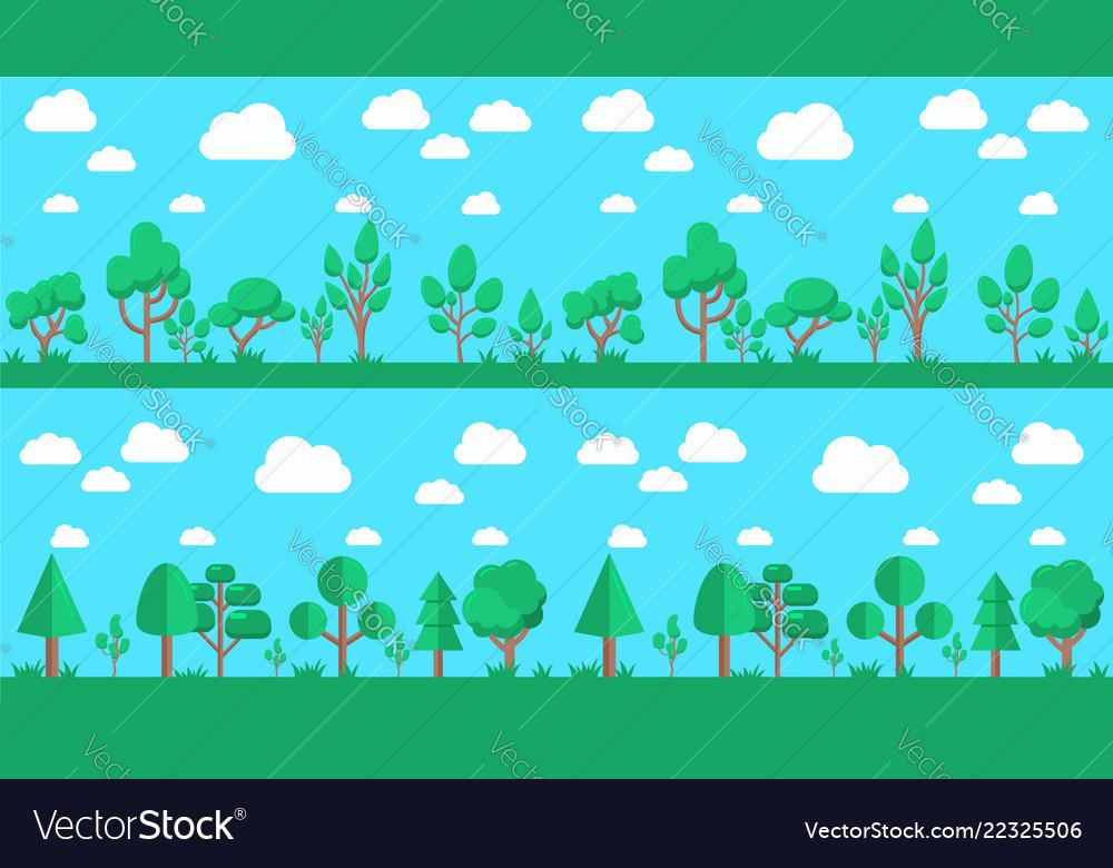 Set of natural forest landscapes flat design