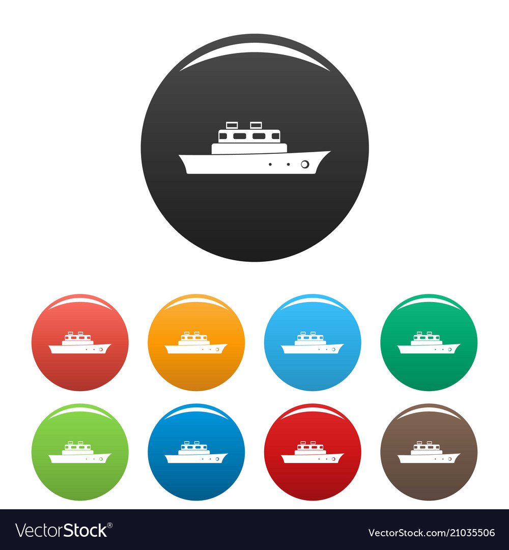 Ship ocean icons set color