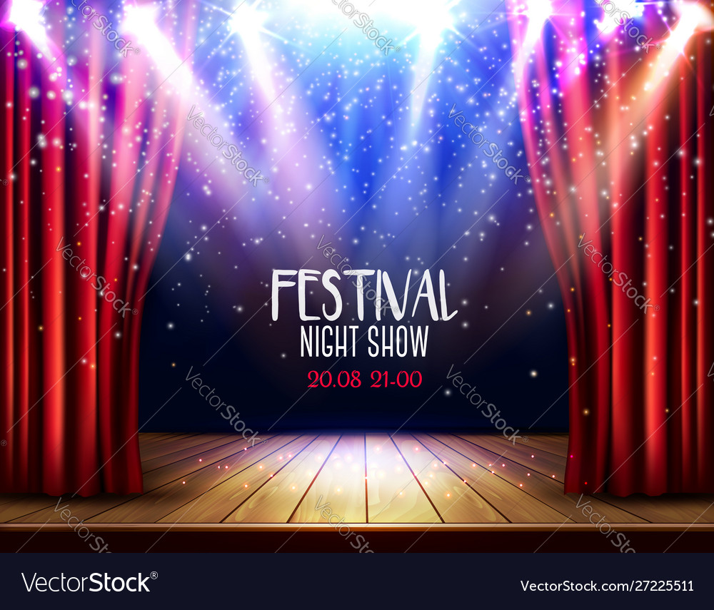 A theater stage with a red curtain and a