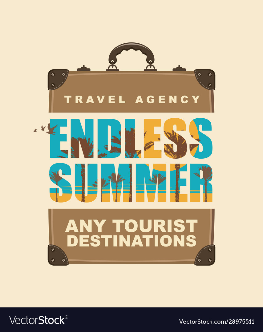Banner with travel suitcase and tropical landscape