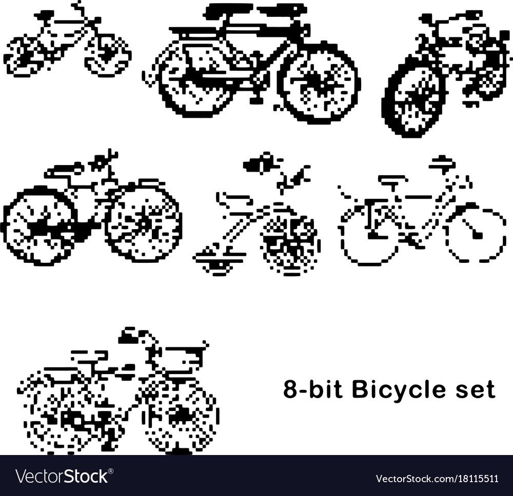 Black 8-bit set of bicycle