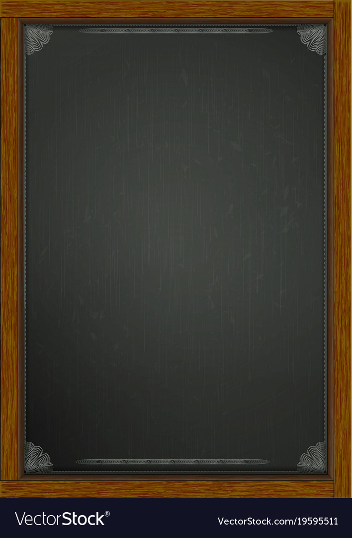 Black board in wooden frame a4 Royalty Free Vector Image