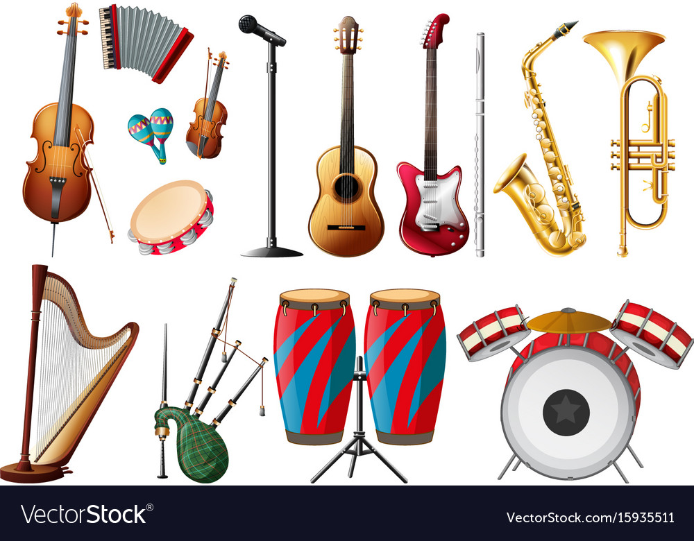 Different Types Of Musical Instruments Royalty Free Vector