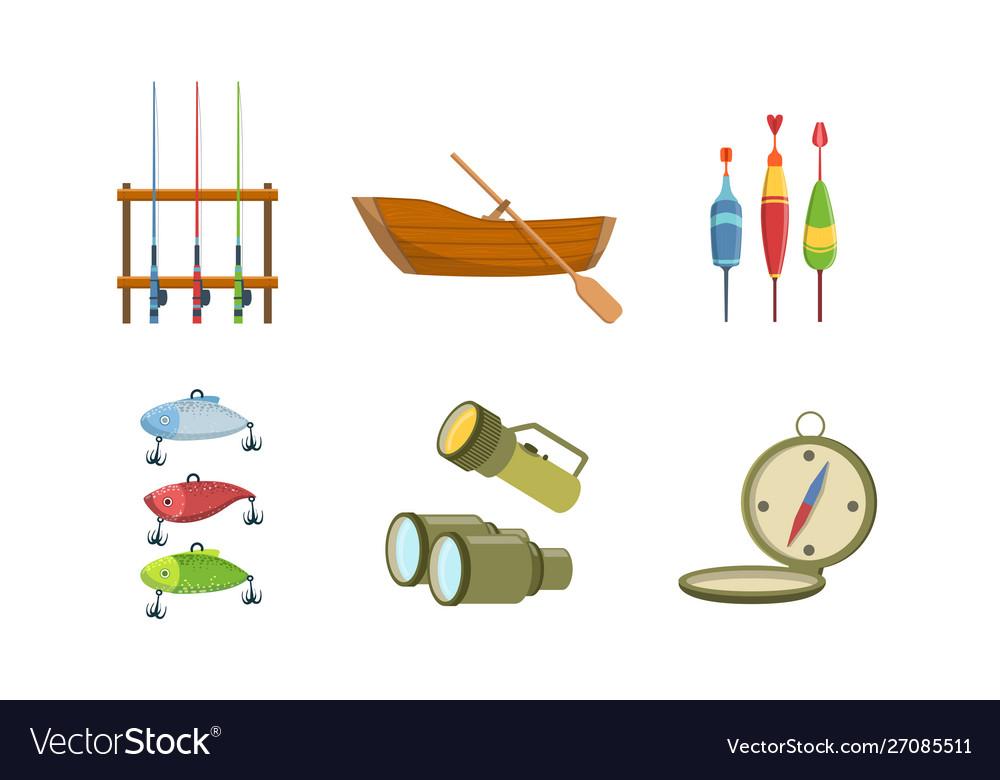 Fishing sport equipment set fishing rod wooden