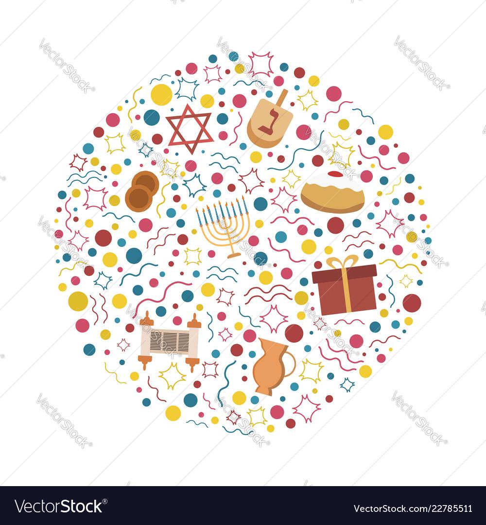 Hanukkah holiday flat design icons set in round