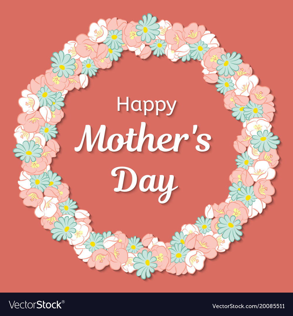 Happy mothers day greeting card round frame or a
