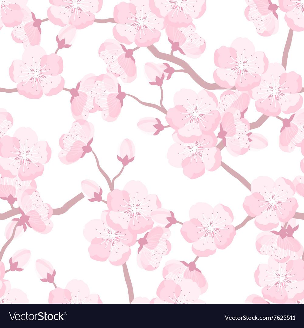 Japanese sakura seamless pattern with stylized