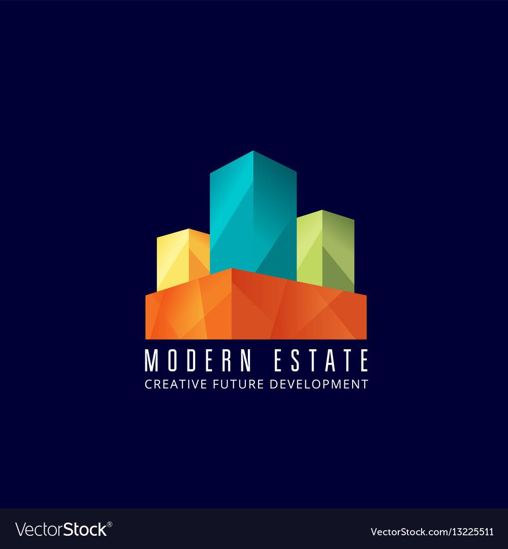 Modern estate abstract sign emblem or logo vector image