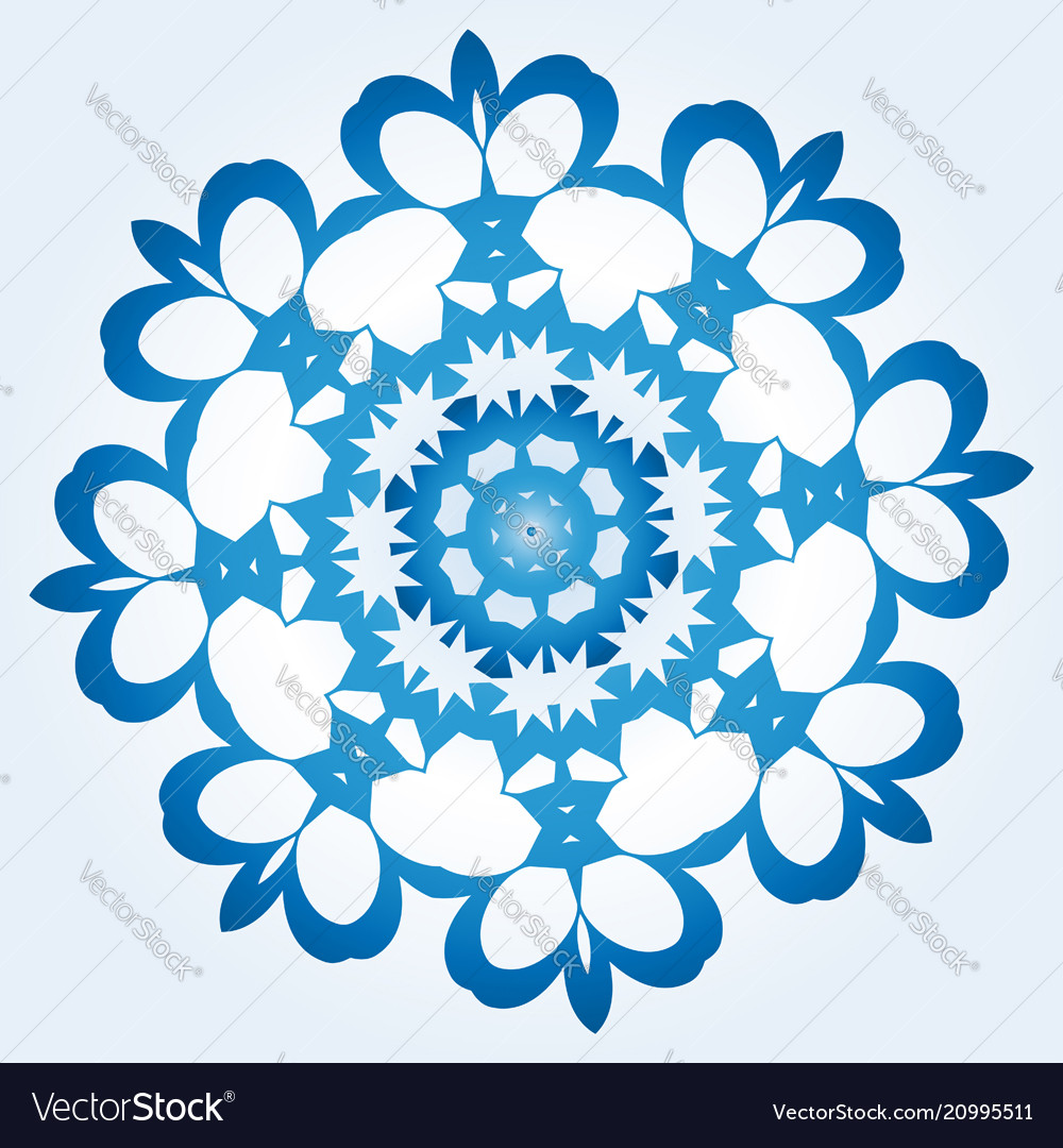Octagonal blue and white snowflake on light blue