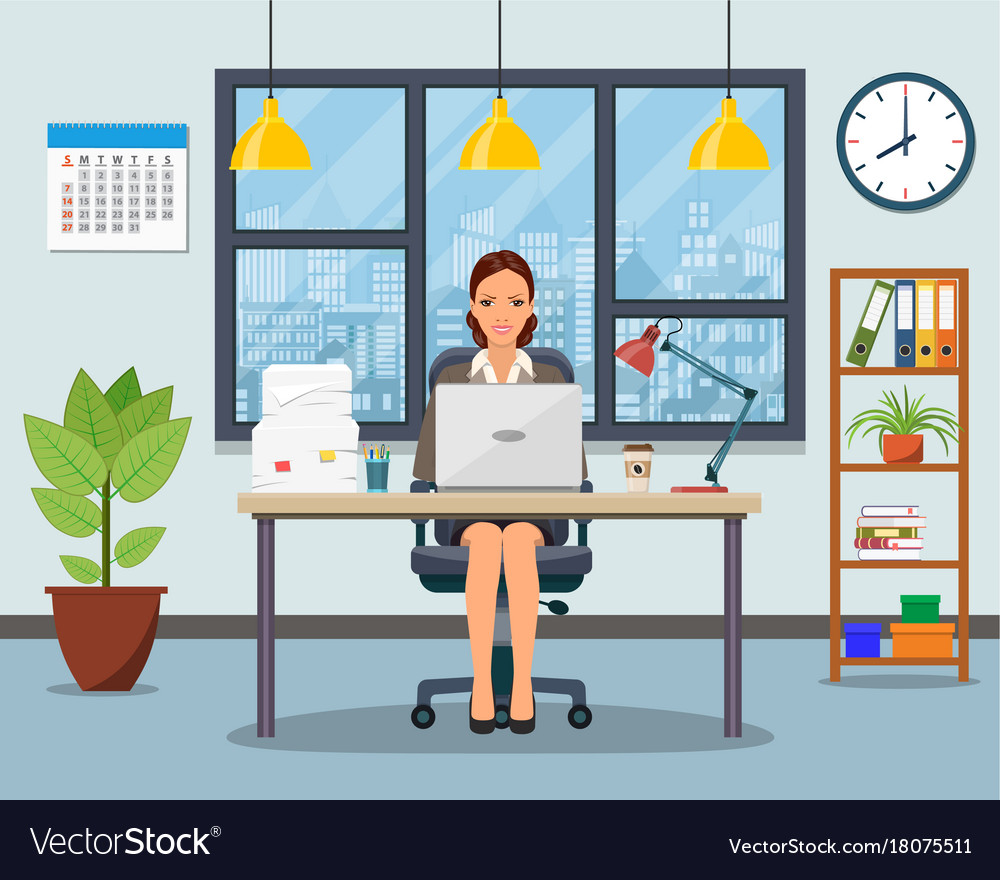 Office workplace with table bookcase window
