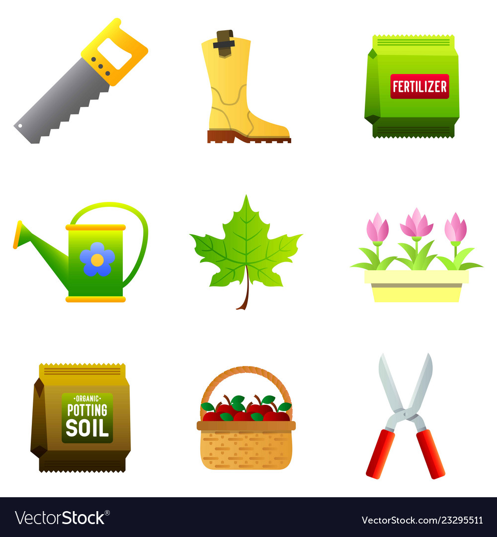 Set of nine color icons - saw rubber boots