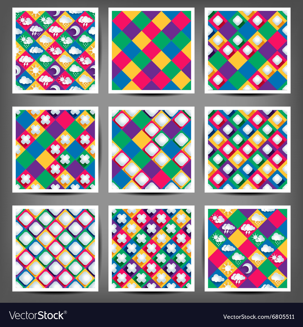 Set of the seamless backgrounds with abstract